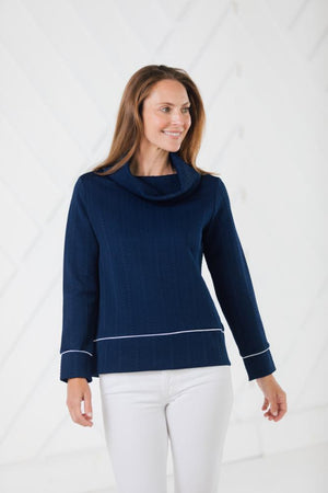 Rope Knit Cowl Neck Pullover