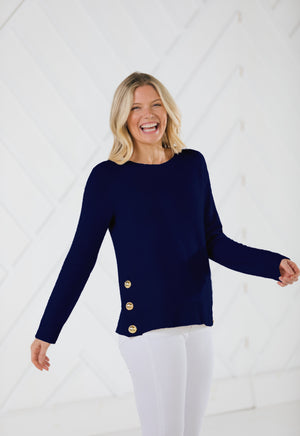 Long Sleeve Side Button Sweater Navy