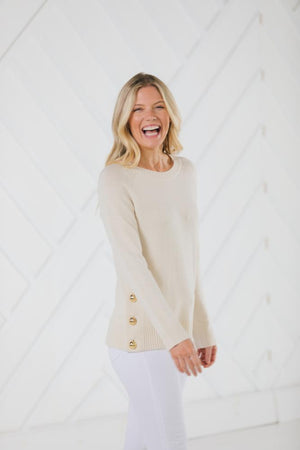 Long Sleeve Side Button Sweater Ivory