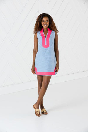 Sleeveless Classic Tunic with Pink Trim