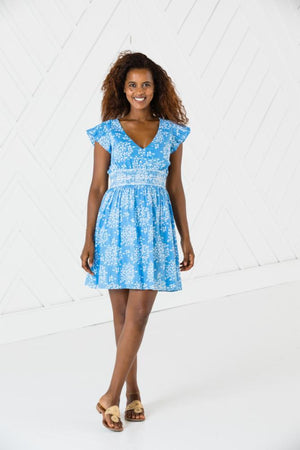 Short Sleeve Flutter Dress