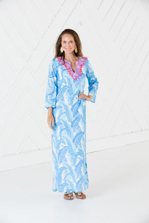 Blue Palm Print Caftan