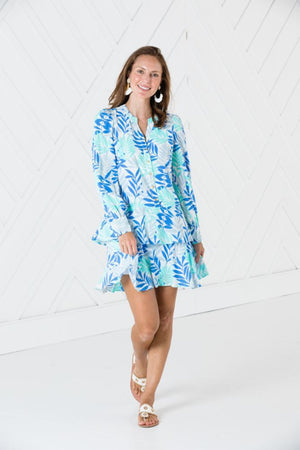 Long Sleeve Flutter Hem Dress