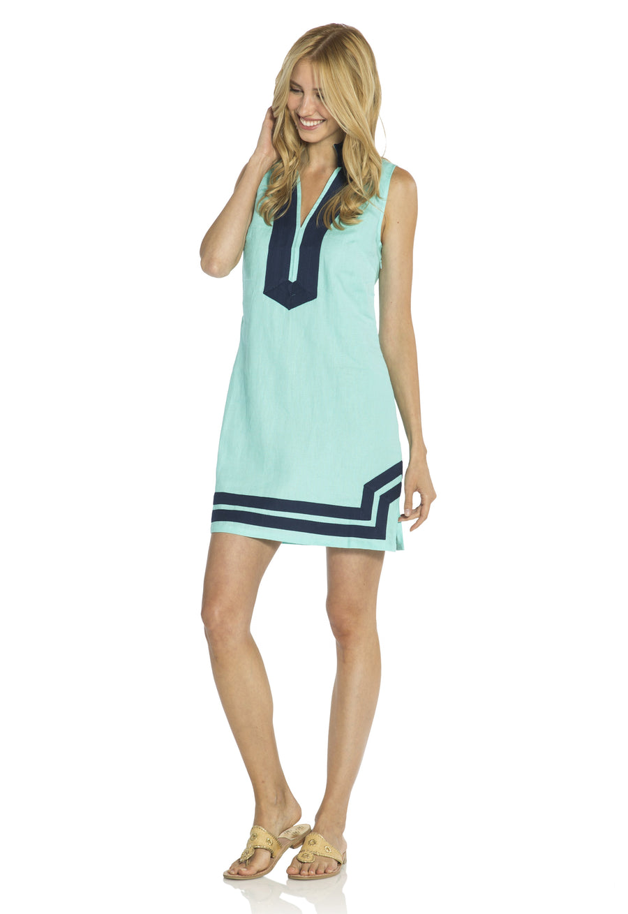 Classic Sleeveless Tunic Aqua/Navy
