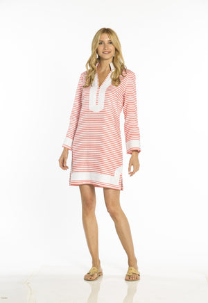 The Classic  Stripe Tunic Dress Grapefruit/White