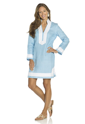 The Classic Stripe Tunic Dress Sky/Glacier
