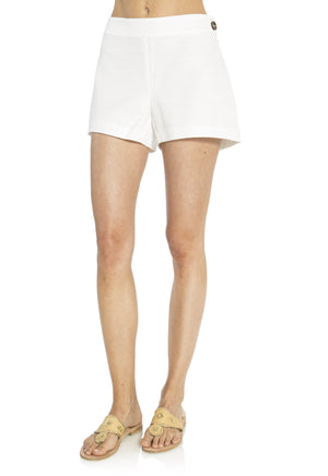 White Basketweave Shorts