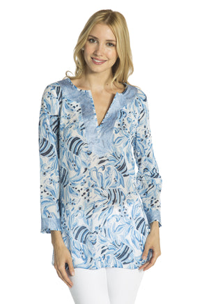 Fish Print Tunic Top