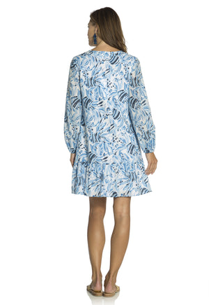Fish Print Long Sleeve Peplum Dress