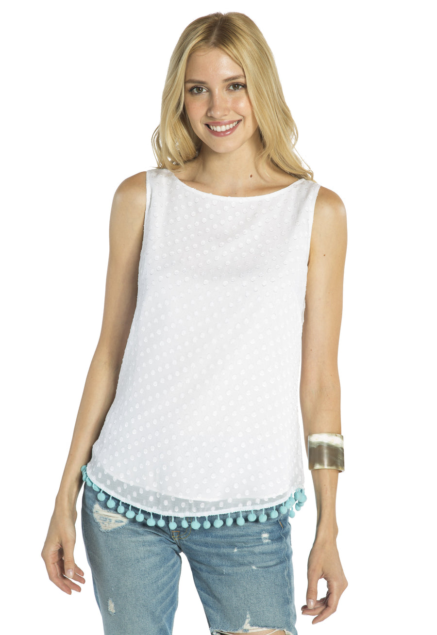 Swiss Dot Pom Pom Sleeveless Top White