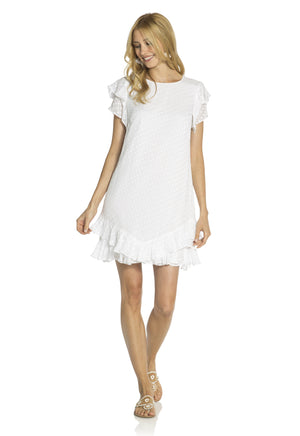 Swiss Dot Flutter Dress White