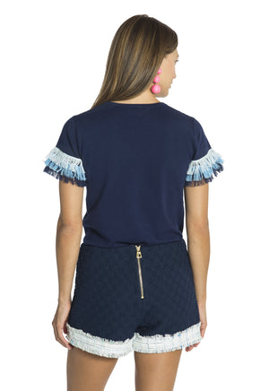 Tiered Fringe Sweater Top Navy
