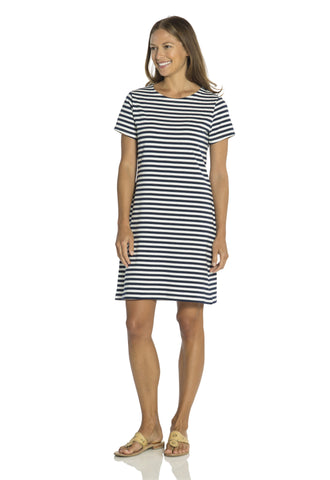Sailor Stripe Short Sleeve Dress  Navy