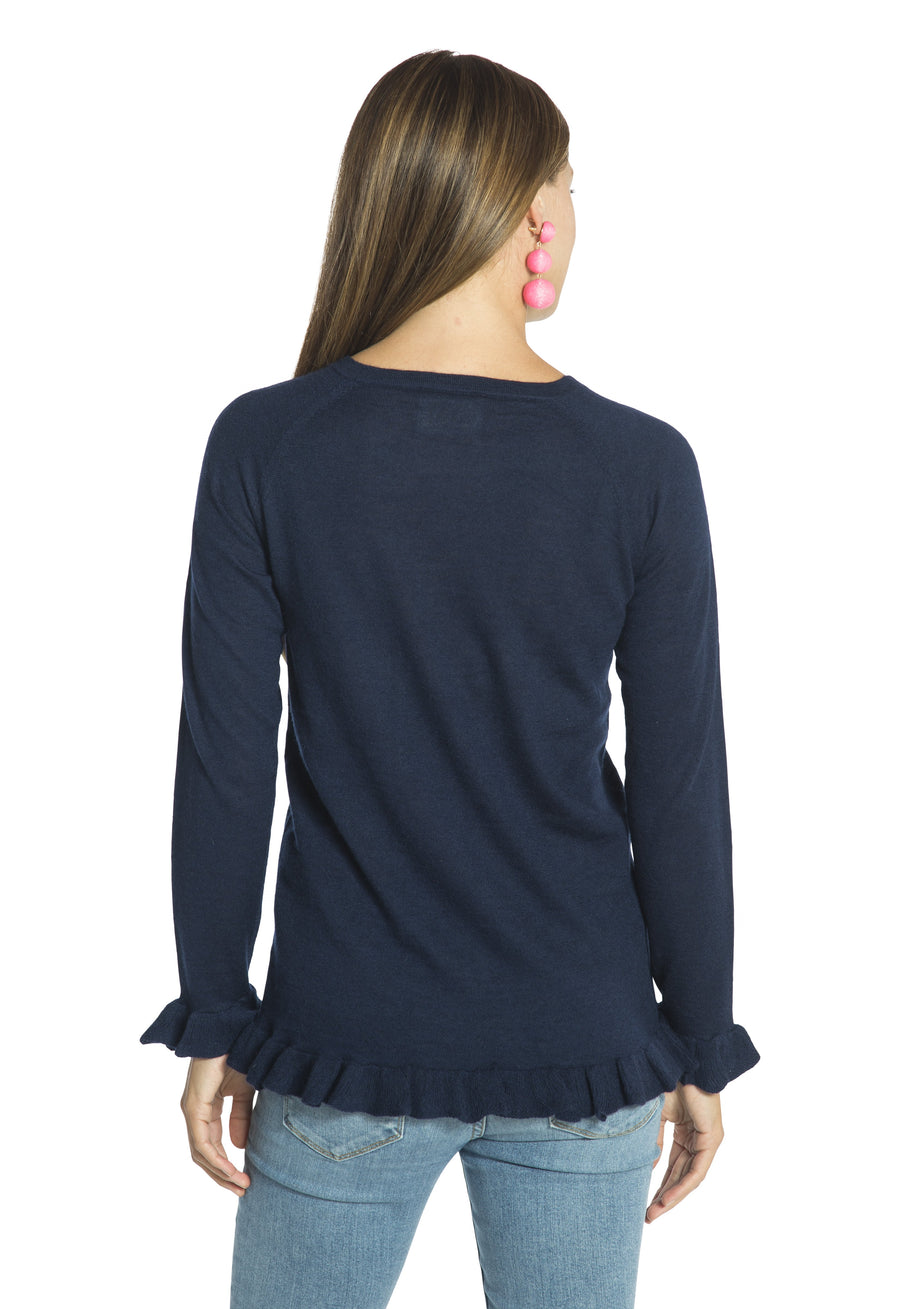 Lightweight Cashmere Ruffle Sweater Navy