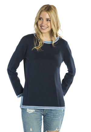 Cotton/Wool Knit Sweater Navy