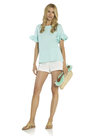 Flutter Sleeve Textured Spandex Knit Top Aqua