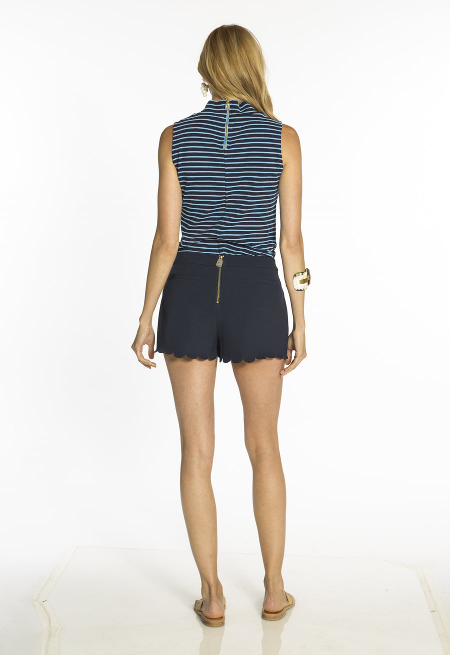 Navy Poly Viscose Scallop Shorts
