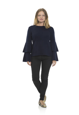 Navy Cashmere Double Bell Sleeve Sweater