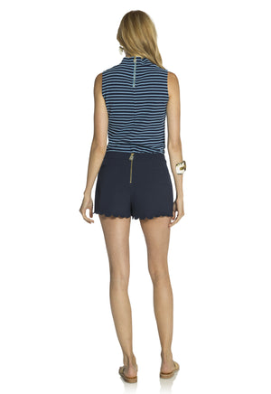 Mock Neck Textured Spandex Knit Top Navy