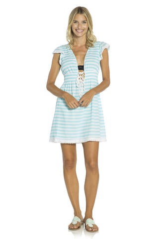 Tie Front Coverup Dress Aqua/White