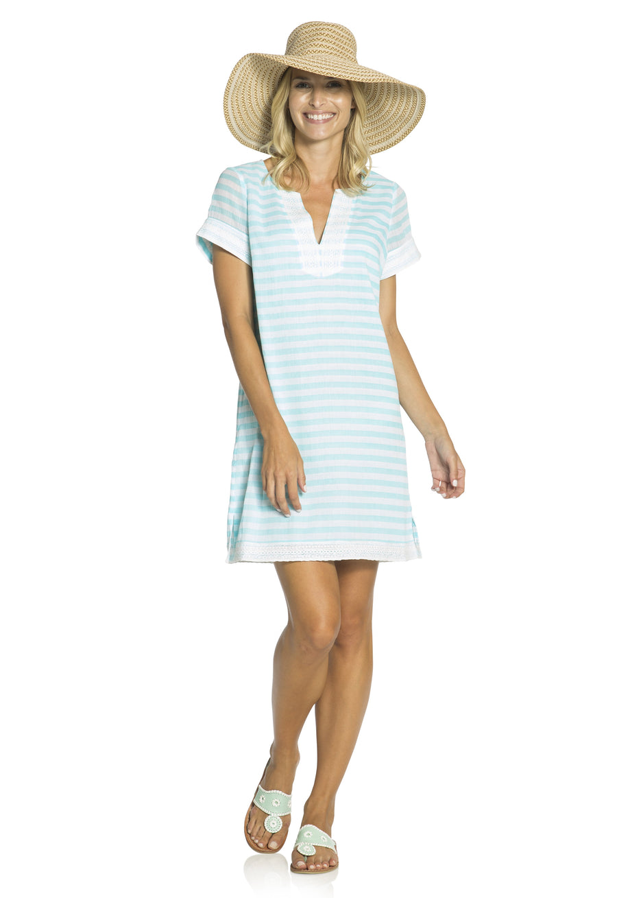 Crinkle Cotton Stripe Dress Aqua/White