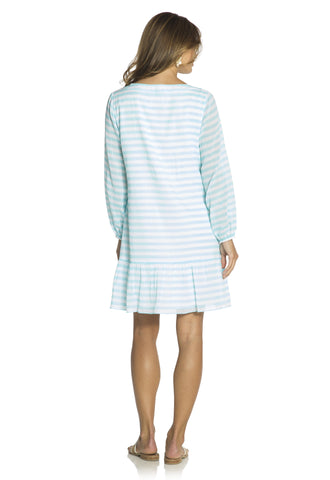 Ruffle Hem Dress Aqua/White