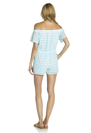 Off the Shoulder Romper Aqua/White