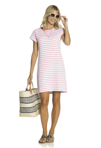 French Terry Short Sleeve Dress Hibiscus
