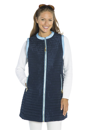 Quilted Long Vest Navy