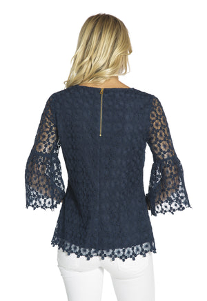 Dot Lace Bell Sleeve Top Navy