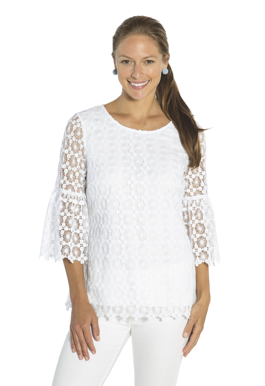 Dot Lace Bell Sleeve Top White