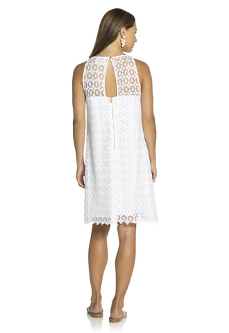Dot Lace Keyhole Shift Dress White