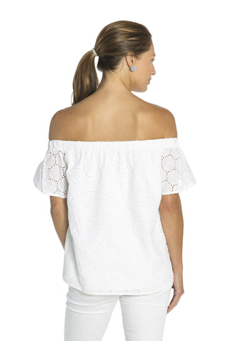 Dot Eyelet Top White