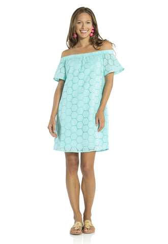 Dot Eyelet Off the Shoulder Dress  Aqua