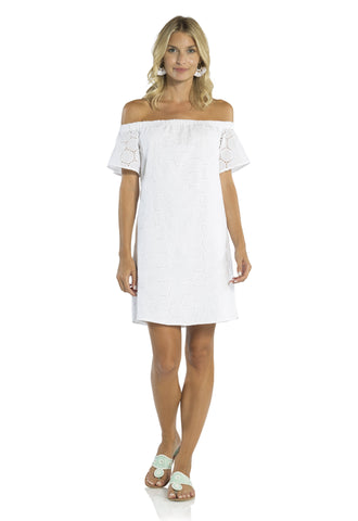 Dot Eyelet Off the Shoulder Dress White