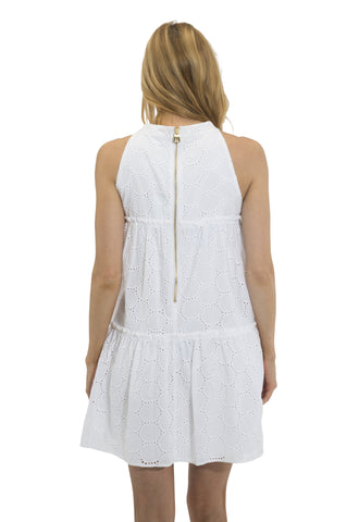 Dot Eyelet Halter Dress  White