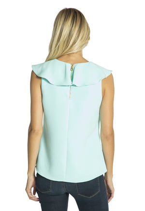 Poly Crepe Ruffle Neck Top Aqua
