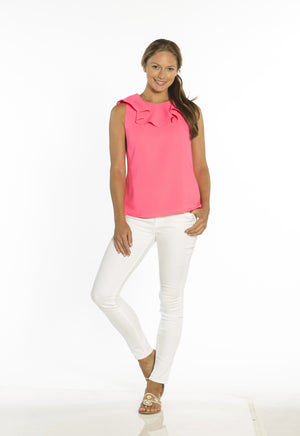 Poly Crepe Ruffle Neck Top Hibiscus