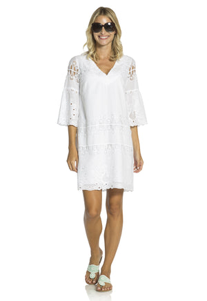 Embroidered Cotton Bell Sleeve Shift White