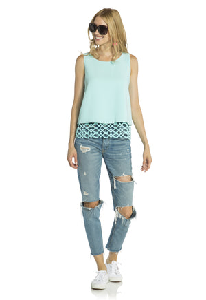 Poly Crepe Geo Laser Shell Top Aqua