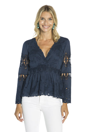 Embroidered Peplum Cotton Top Navy