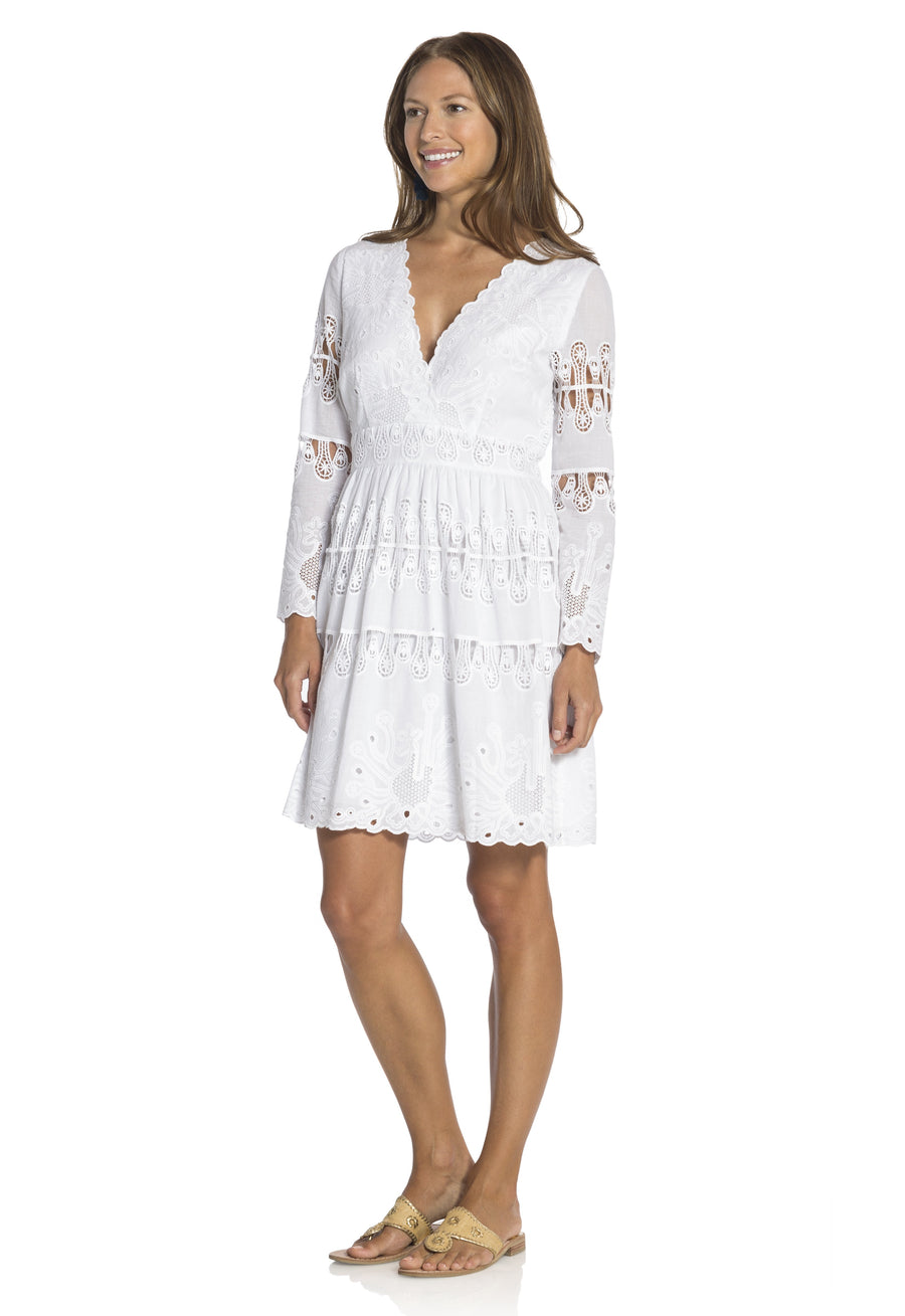 Embroidered Cotton Fit & Flare Dress White