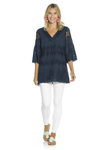 Embroidered Cotton Tunic Top Navy