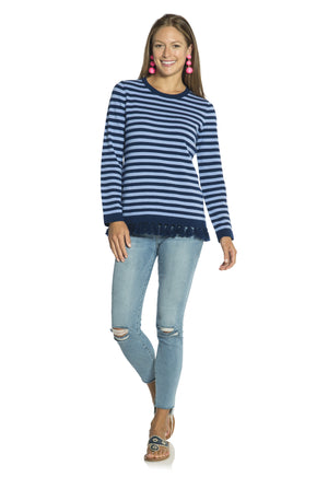 Cashmere Stripe Tassel Sweater Navy