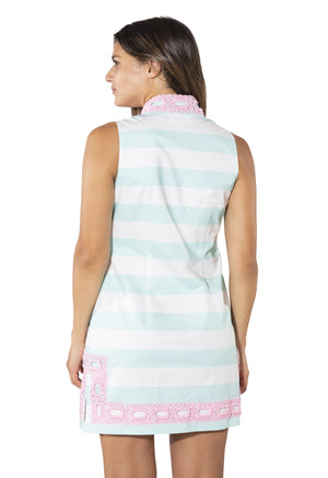 Sleeveless Slub Classic Tunic Aruba Blue/White