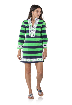 Long Sleeve Slub Classic Tunic Navy/Parrot Stripe