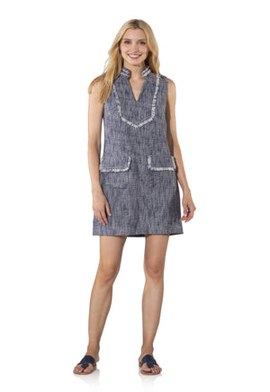 Tweed Sleeveless Shift Dress