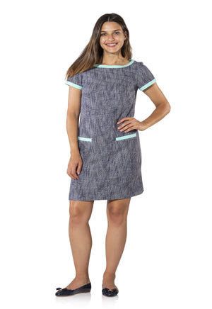 Tweed Short Sleeve Shift Dress with Bow Back