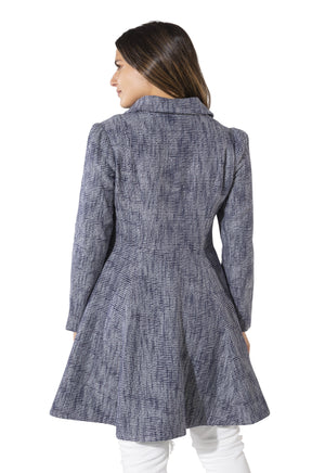 Tweed Button Up Fit and Flare Coat