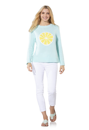 Long Sleeve Intarsia Lemon Sweater